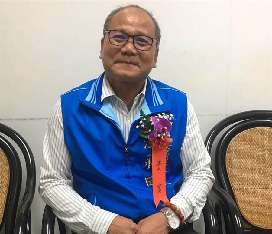 雲林縣退休警察協會理事長表態退出國民黨雲林山線立委黨內初選。(許素惠攝)