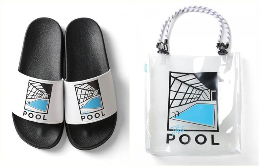 泳池聯名拖鞋(左)與手提袋(右)。(圖/翻攝自推特)