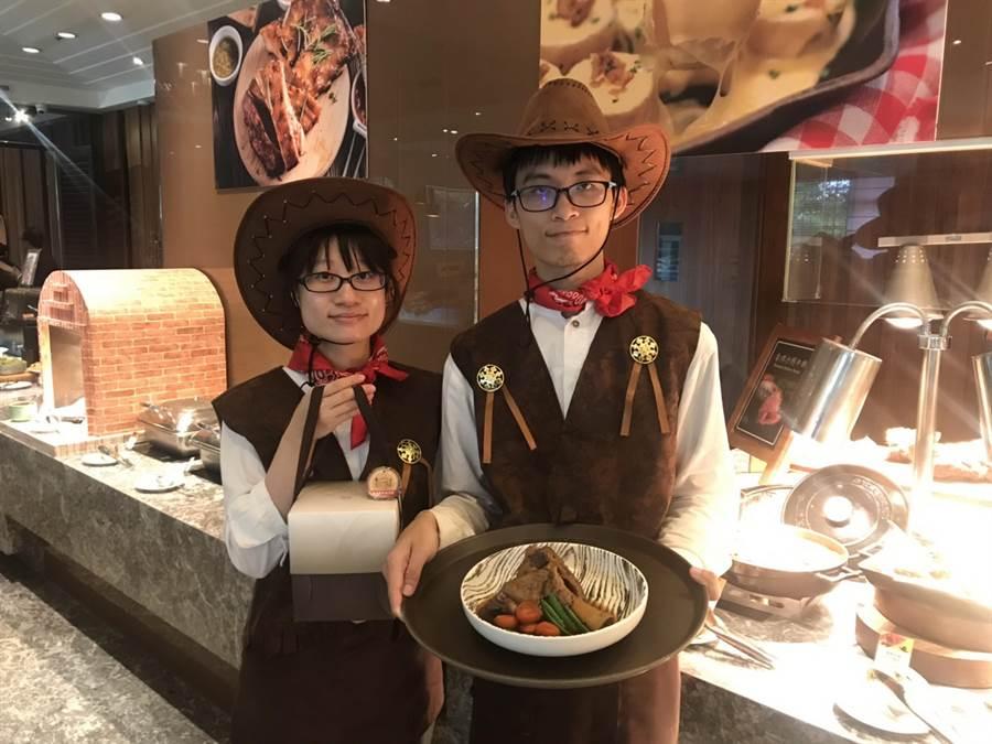 新竹老爺酒店「Le Cafe 自助餐廳」即日起推出「美食狂歡,牛仔很忙」牛肉美食季,只要4人同行,老闆就要送你吃曾獲老爺集團料理首獎的「老爺經典燉牛膝」。(陳育賢攝)