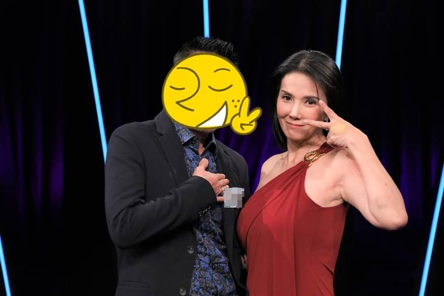 本土劇超辣女星丁國琳(右)上直播益智節目,沒想到直播中竟叫這位男星老公,還說他是她唯一一個叫他老公的人。(圖/台視17Q提供)