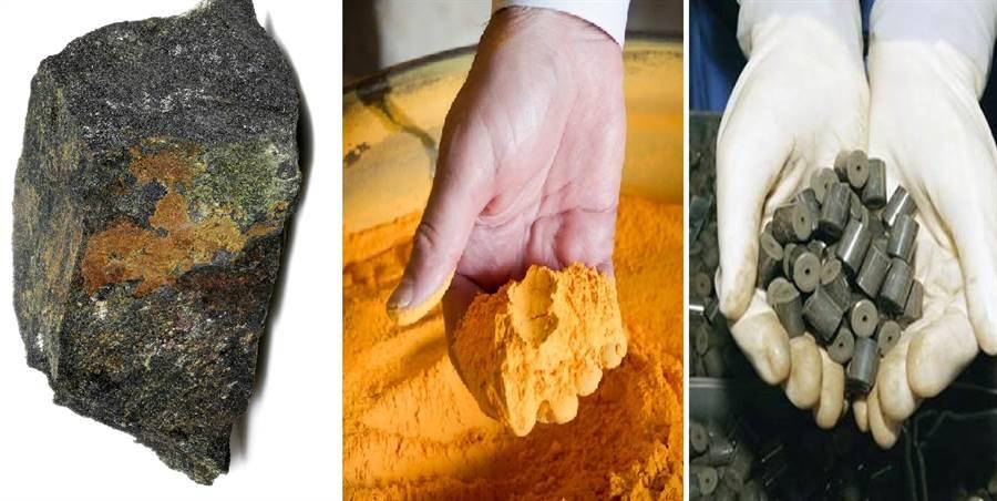 鈾礦石、黃餅與燃料丸,鈾元素的加工過程。(圖/網路)