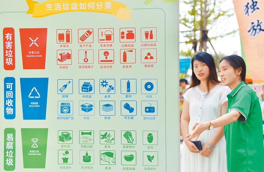 7月4日,石家莊志工為社區居民講解垃圾分類知識。(新華社)