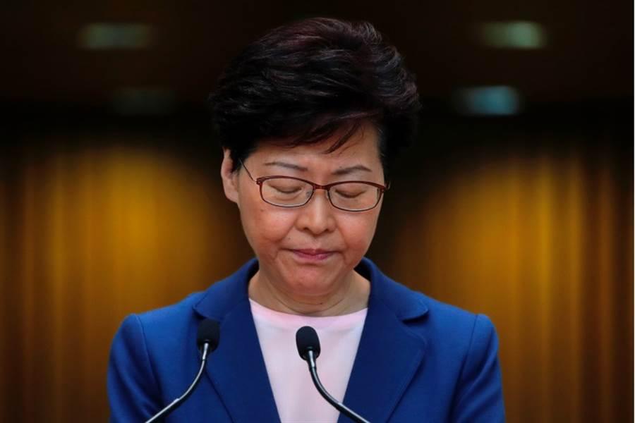 香港特首林鄭月娥9日表示,修訂《逃犯條例》的工作完全失敗,修例工作已「壽終正寢」。(路透社)