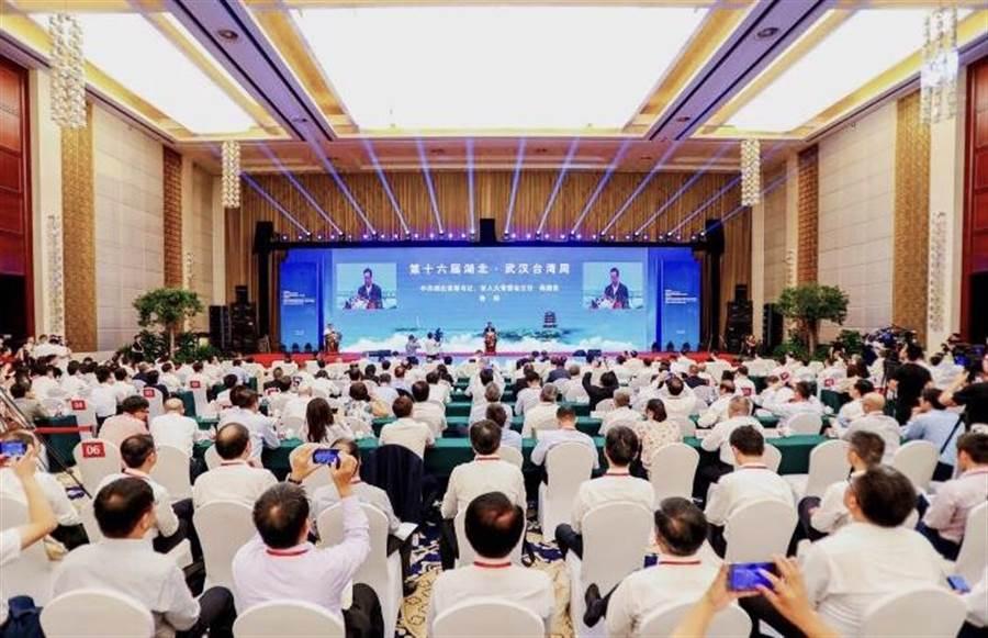 第十六屆湖北·武漢台灣周兩岸企業家峰會企業代表,台灣工商界、產業界知名人士,青年和基層代表及兩岸專家學者等近800人共襄盛舉。(王雅芬攝影)