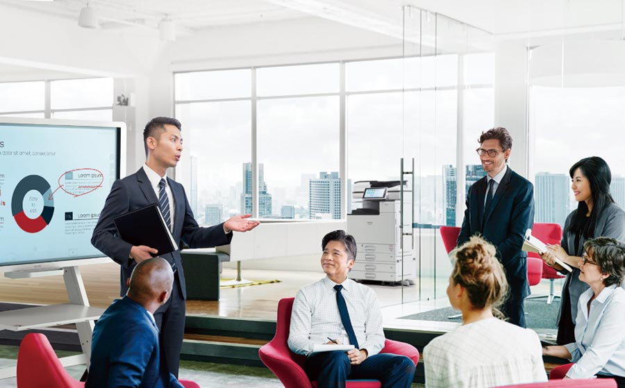 震旦集團旗下互盛公司推出新一代事務機「RICOH IM C6000」系列,以「智能」為特色,協助企業轉型升級。圖/業者提供