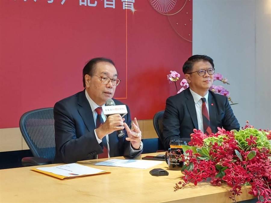 星展集團控股主席佘林發(左)與星展銀行(台灣)總經理林鑫川宣布增資。圖/黃琮淵攝