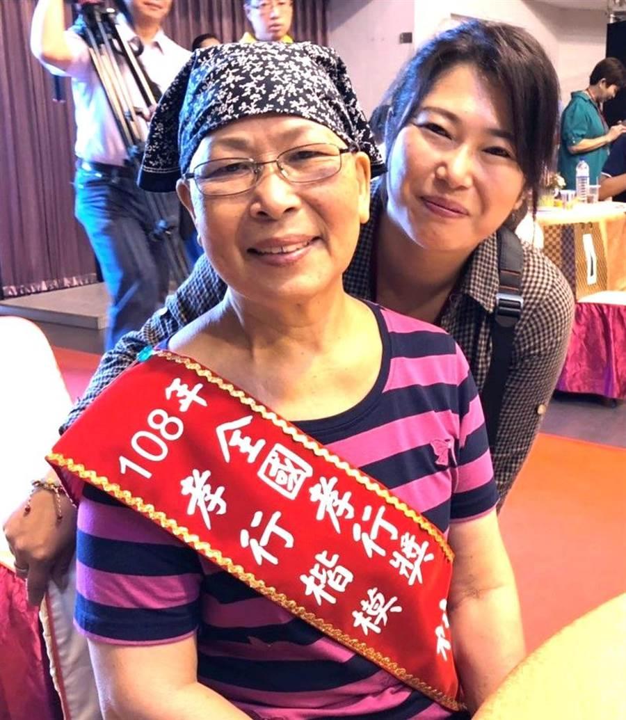▲南投縣獲全國孝行獎的林金葉在得獎後表示,她與婆婆在生命中只有彼此。(楊樹煌攝)