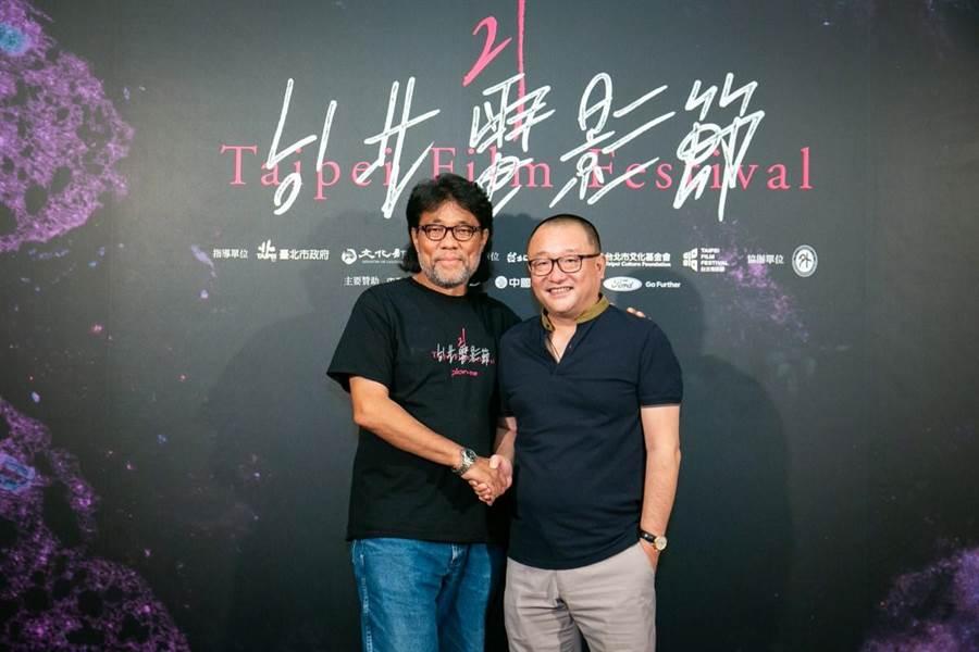 王小帥(右)來台參加台北電影節。(台北電影節提供)