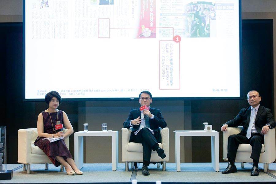 台新銀行投資策略總監莊明書、台新銀行資深副總經理黃培直與財經主持人夏韻芬出席「2019投資趨勢論壇」,為投資人提供未來一年投資策略。圖/台新提供