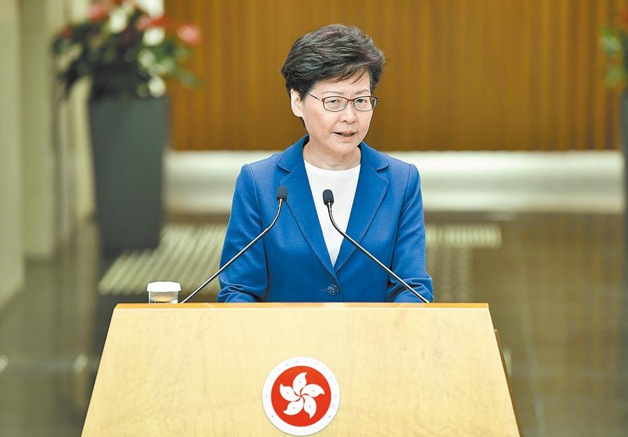 7月9日,香港特區行政長官林鄭月娥出席行政會議前會見媒體。(中新社)
