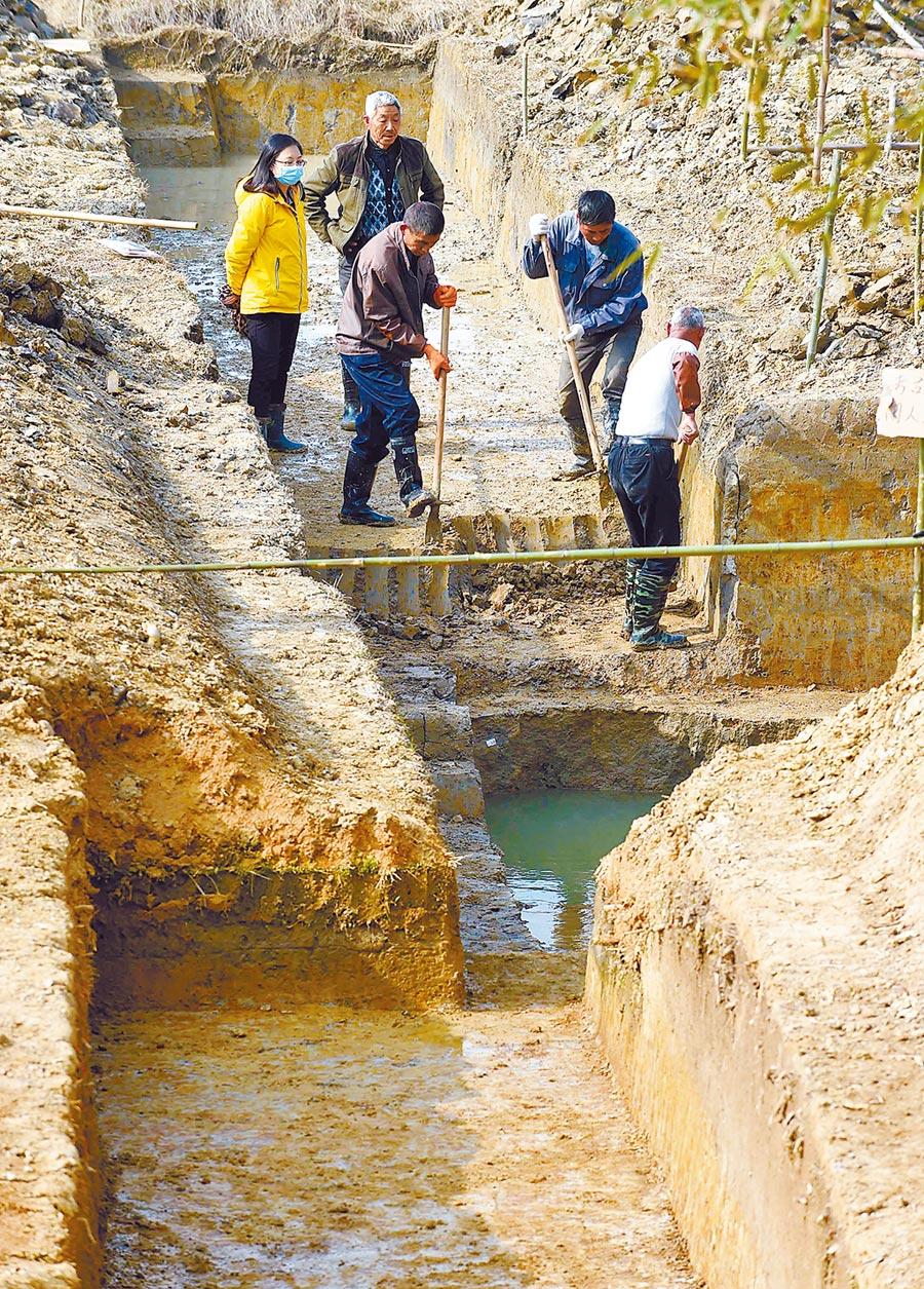 2016年3月15日,工作人員在杭州餘杭區瓶窯鎮考古現場挖掘探溝。(新華社)