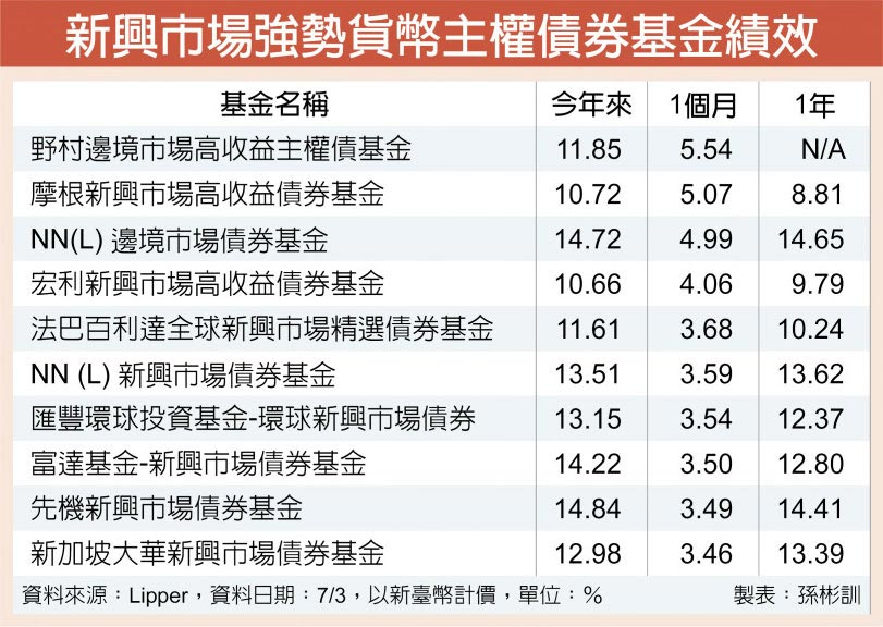 新興市場強勢貨幣主權債券基金績效