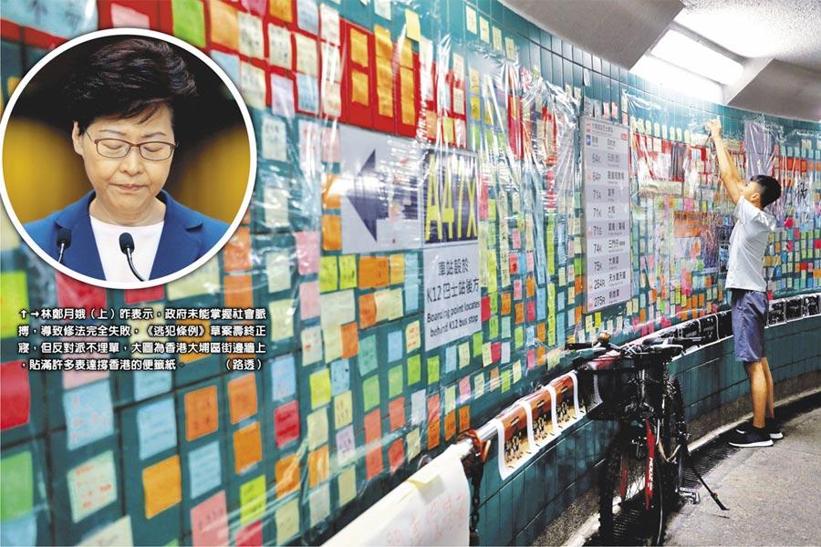 林鄭月娥(小圓圖)昨表示,政府未能掌握社會脈搏,導致修法完全失敗,《逃犯條例》草案壽終正寢,但反對派不埋單,圖為香港大埔區街邊牆上,貼滿許多表達撐香港的便籤紙。(路透)