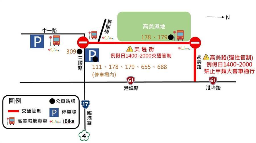 高美濕地管制圖,車輛可停放在第一及第二停車場,再搭乘接駁專車或騎iBike前往濕地。(陳世宗翻攝)