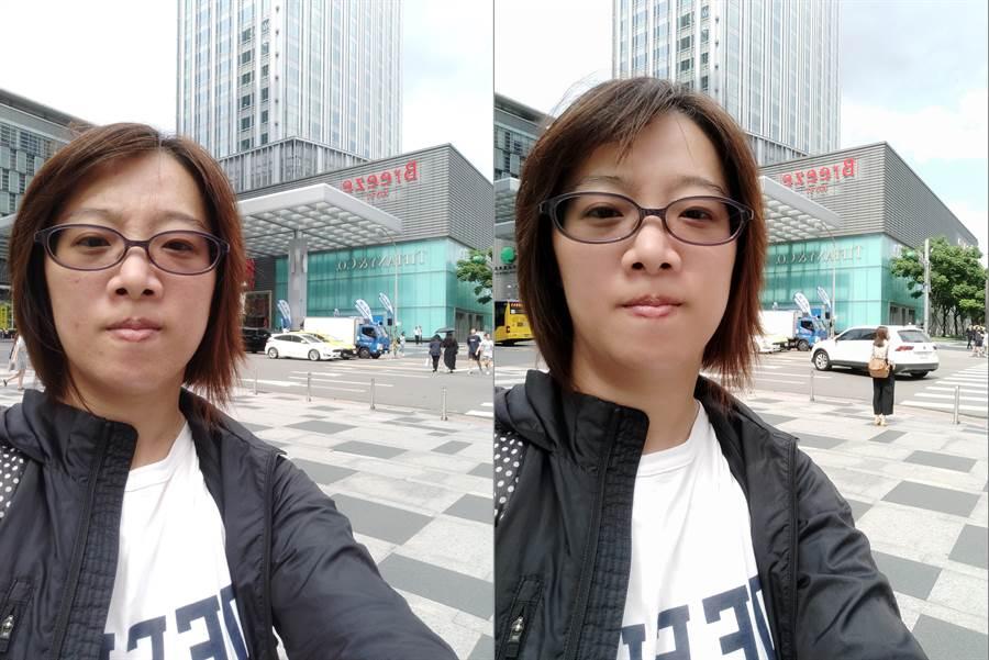 小米9T前相機美顏效果開啟前、後(右)對比。(圖/黃慧雯攝)