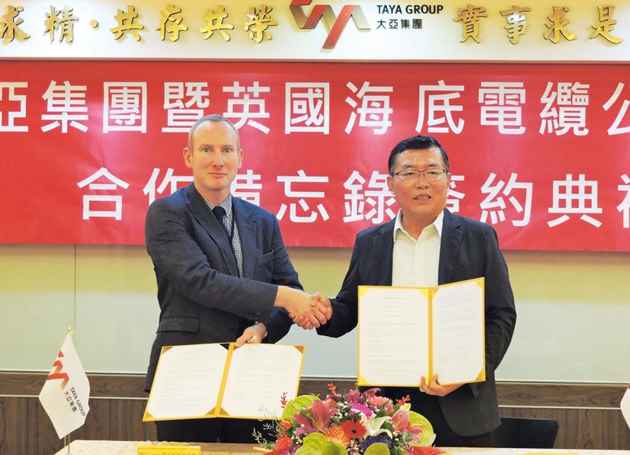 大亞集團電通事業群總經理莊博貴(右)與JDR亞大區業務經理Gary Howland(左),代表雙方簽訂MOU,將共同在台灣建立離岸風場海纜工程技術。圖/葉圳轍