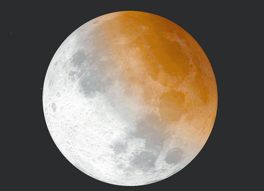 下周三7月17日天亮之前,將出現「月偏食」天象,這也是台灣今年唯一可見的一場月食。圖為月食模擬圖。(台北市立天文館提供)