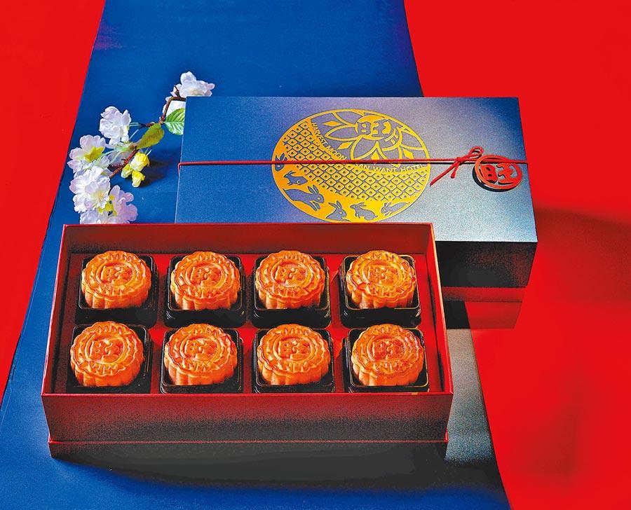 旺月禮盒三款口味共八入,每盒價格1280元。