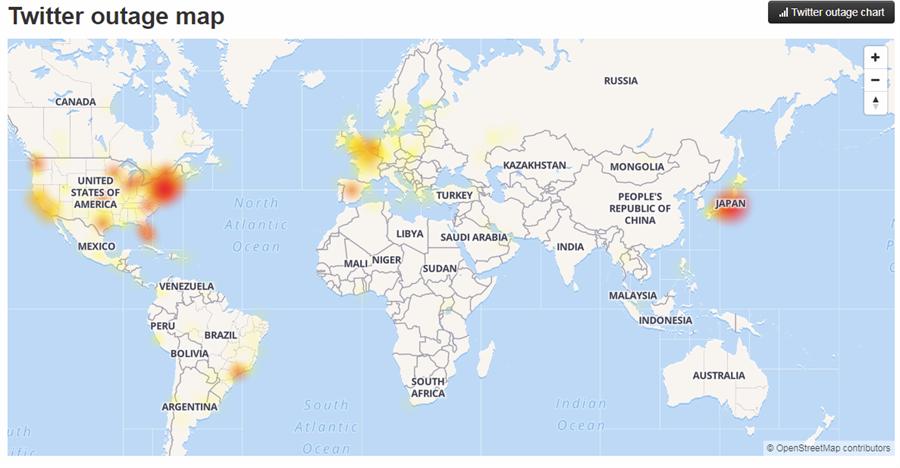 推特傳當機,災情集中在歐洲、北美及日本。(圖擷自downdetector網頁)