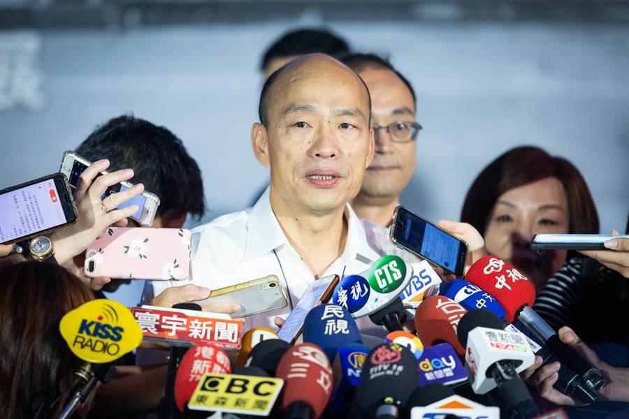 面對郭台銘公開勸退,韓國瑜沒有正面回應,表示尊重初選結果。(袁庭堯攝)