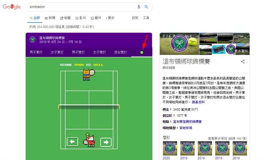Google Search 暗藏一個與溫布頓網球賽相關的彩蛋,可以開啟網球小遊戲。(圖/翻攝Google網頁)