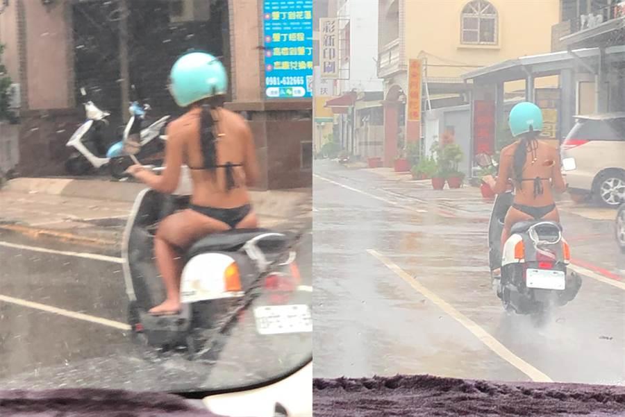 比基尼妹雨中騎車 蜜臀纖腰掀暴動(圖/翻攝自臉書《爆廢公社二館》)