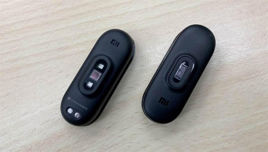 小米手環4(左)與小米手環3背面。(圖/黃慧雯攝)