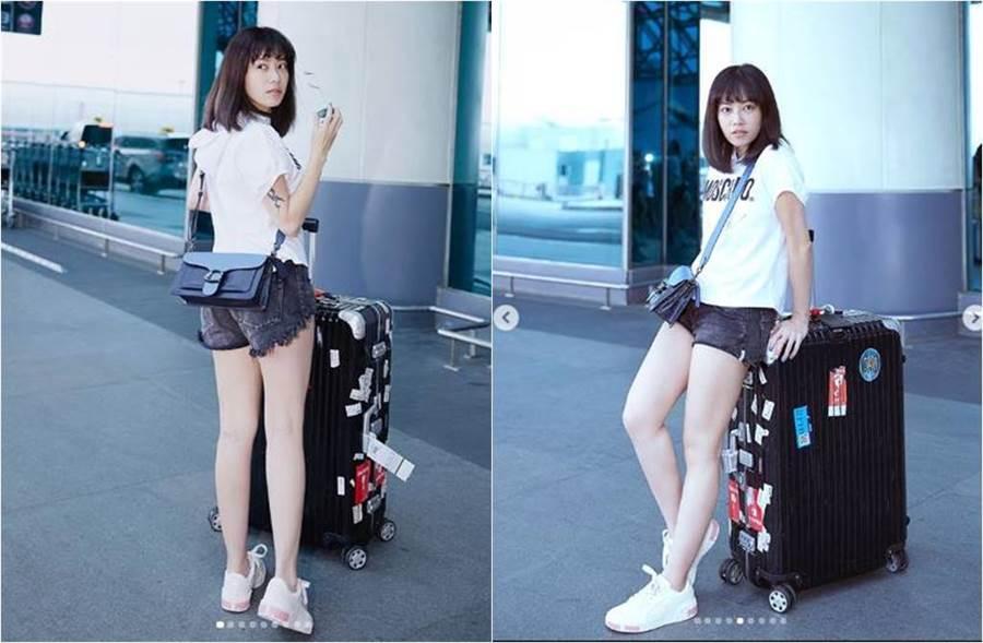 徐懷鈺曬機場時尚照,她辣穿超短熱褲曬美腿。(圖/取材自徐懷鈺Instagram)