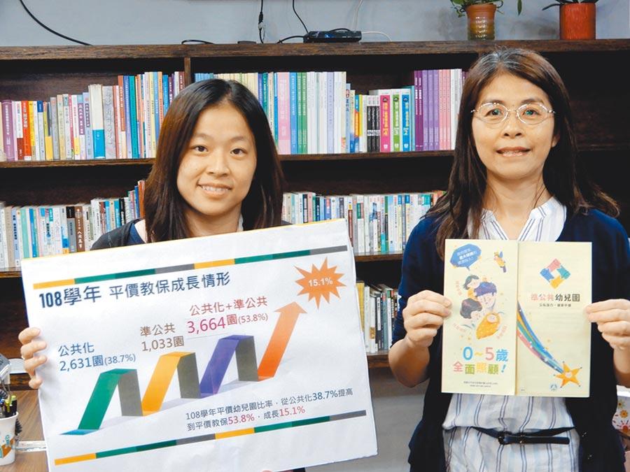 「準公共幼兒園」政策8月1日起全國實施,教育部國教署副署長許麗娟(右)說明準備情形。(林志成攝)