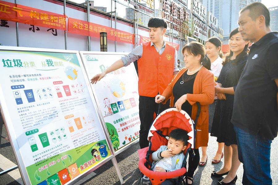 安徽省推動生活垃圾分類宣傳活動,讓社區居民積極參與。(中新社)