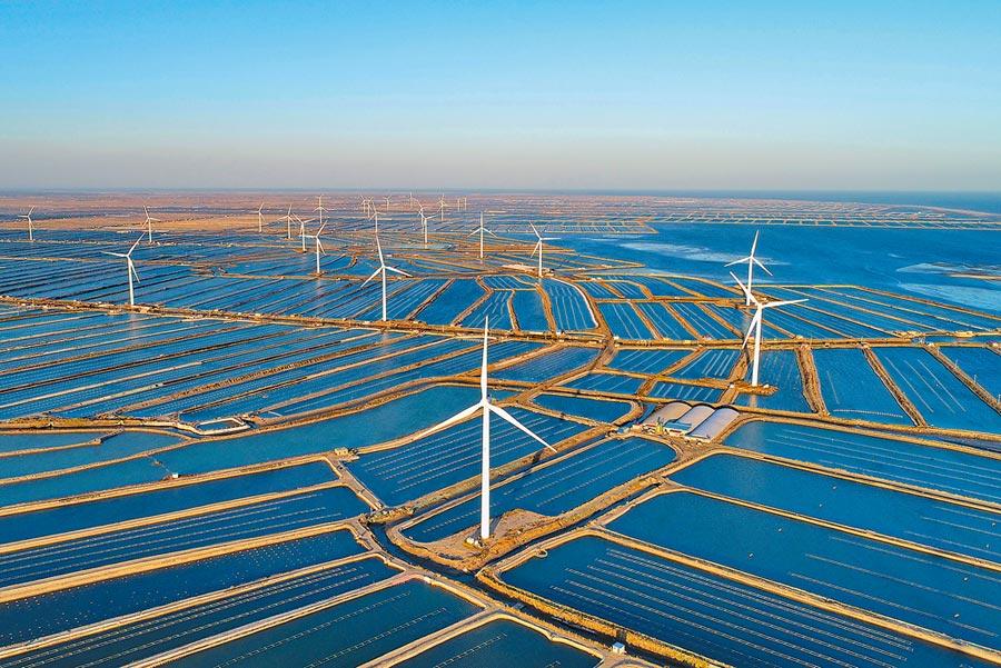 大陸水電、風電、太陽能發電裝機容量穩居世界第一,圖為河北省唐山市樂亭縣海邊養殖區內的風電場。(新華社資料照片)