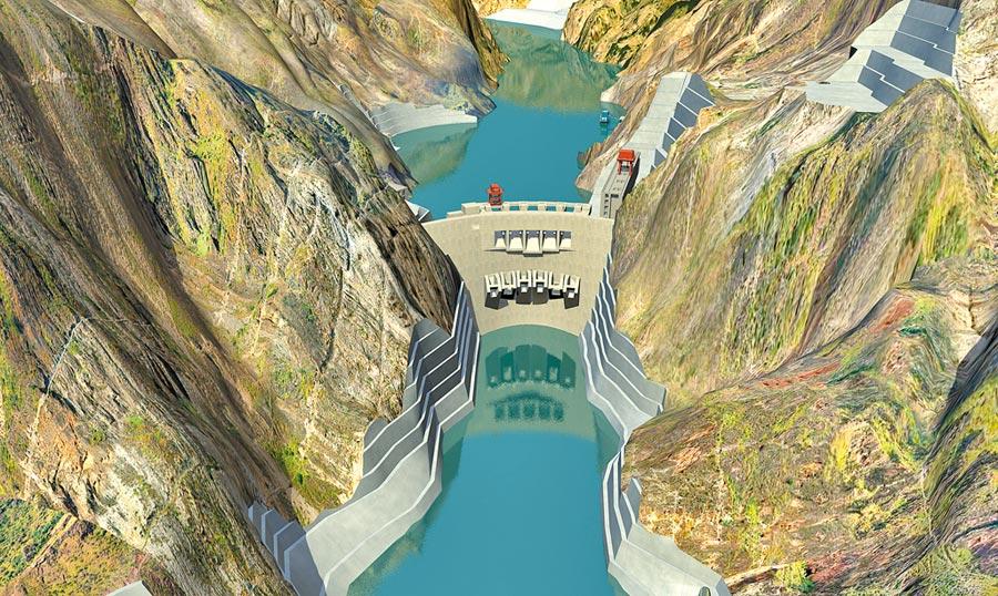 2015年大陸核准建設的第三大水電站金沙江烏東德水電站三維效果圖。(新華社資料照片)