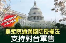 《中時晚間快報》美眾院通過國防授權法 支持對台軍售