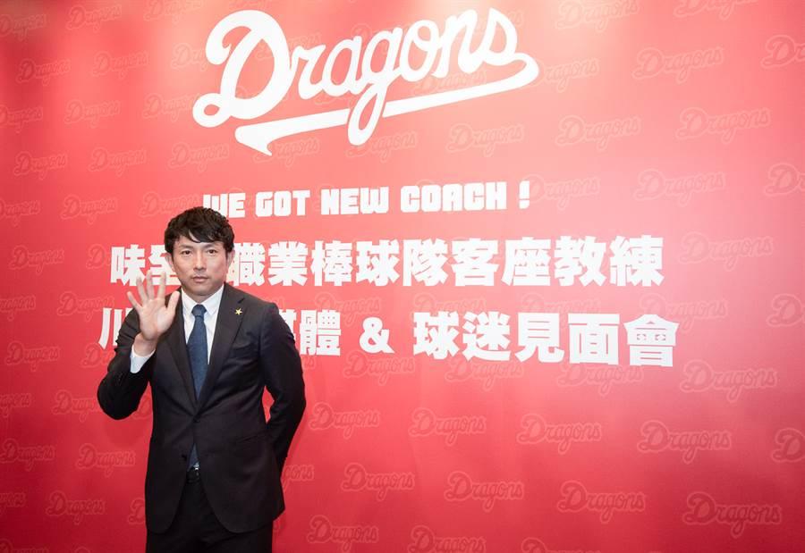 川崎宗則13日參加球迷見面會,透露自己想繼續當球員的企圖心。(味全龍提供)