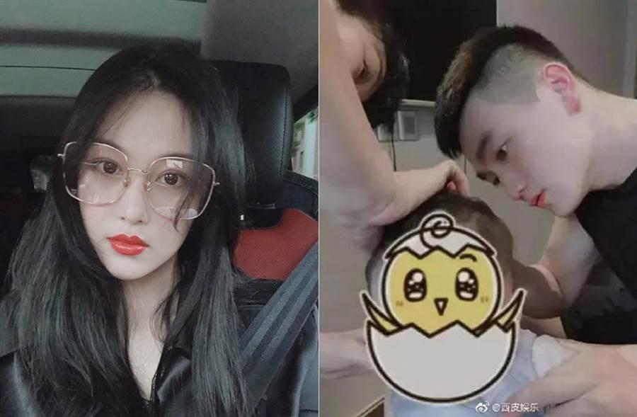 張馨予去年嫁給何捷,最近流出一張何捷幫寶寶剃頭髮照片。(圖/翻攝自張馨予、西皮娛樂微博)