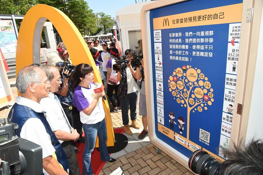 台灣麥當勞響應高市府「北漂返鄉」政策,13日首度將招募列車開來港都搶人才。(柯宗緯攝)