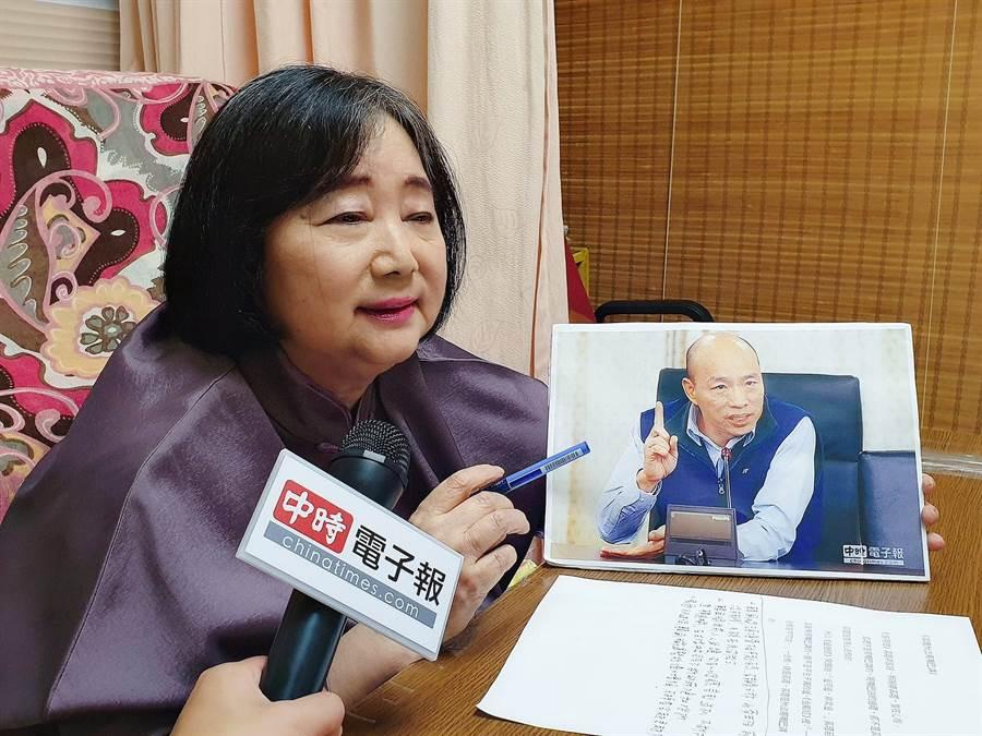 江嘉葉鐵口斷,「韓國瑜民調會勝出,90%會當選總統」。(照片/游定剛 拍攝