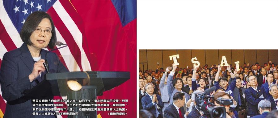蔡英文總統「自由民主永續之旅」12日下午(臺北時間13日凌晨)與哥倫比亞大學師生座談時,學生們對台灣明年大選很感興趣,蔡則回應「我們很有信心會贏得明年大選」;右圖為她出席主流暨僑界人士晚宴,僑界人士拿著TSAI的字板表示歡迎。(總統府提供)