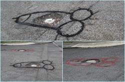 馬路有洞1年多 他怒畫「巨鵰」後立刻「填好填滿」