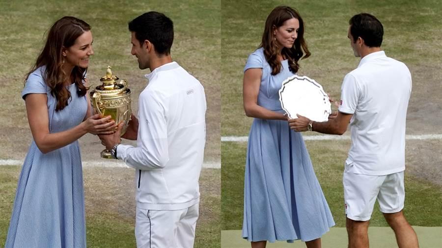 凱特王妃親自頒發冠軍獎盃與亞軍銀盤給喬柯維奇(Novak Djokovic)(左圖)與費德勒(Roger Federer)(右圖)。(圖/達志影像)