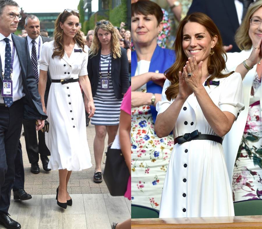 凱特今年的第一場溫布頓網球賽選穿英國服飾品牌Suzannah的白色排釦洋裝搭配黑色尖頭高跟鞋亮相。(圖/達志影像)