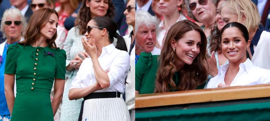 凱特與梅根一同觀賽,歡樂溫馨的氣氛打破不合傳言。(圖/達志影像)