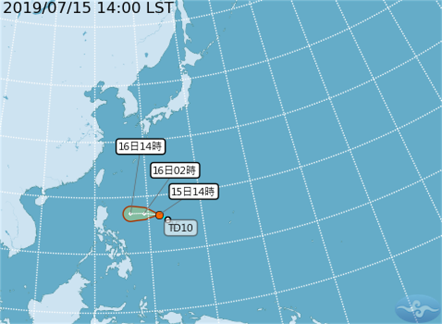 準颱風丹娜絲「路徑往台灣」進逼 最快明晚發海警。(圖/氣象局)