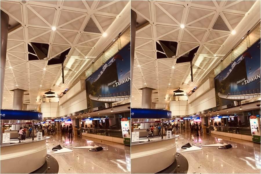 台灣門面GG!桃機第二航廈天花板砸落 旅客超傻眼。(圖/翻攝自爆料公社二社 FB)