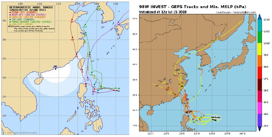 歐洲模式模擬(左)及美國GEFS系集模式最新模擬(右)顯示,熱低壓不排除有穿台可能。(左/翻攝自翻攝typhoon2000,右/翻攝自Tropical Tidbits)