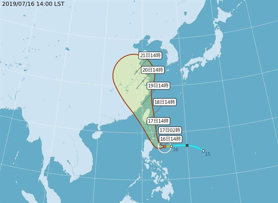 輕颱丹娜絲下午形成,恐直接登陸台灣陸地。(圖/取自氣象局網頁)
