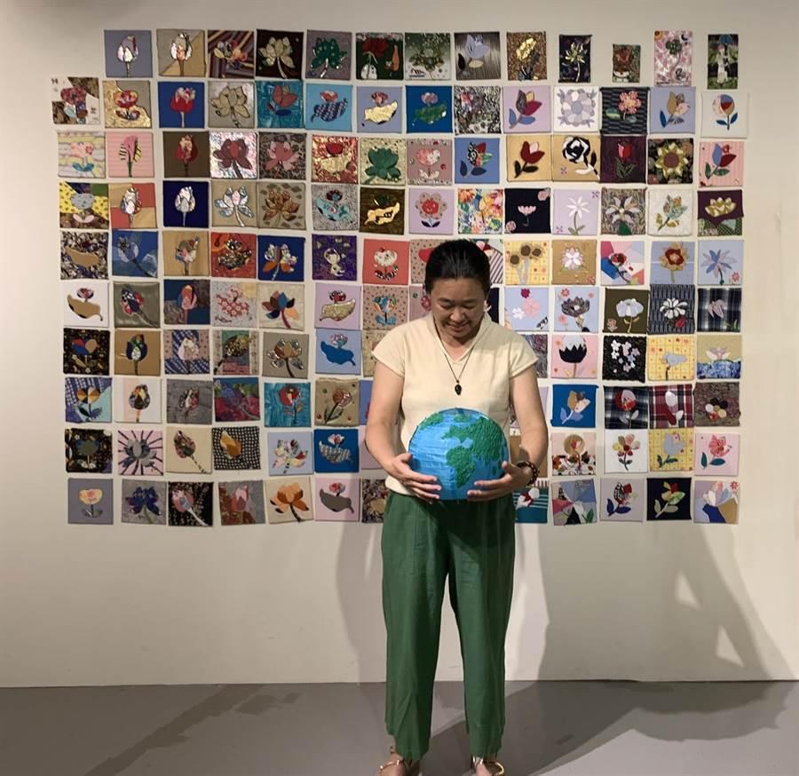 廖芳英以這面花為主題的「百花齊放」大型作品,為地球獻上最深的祝福。(圖由世界宗教博物館提供)