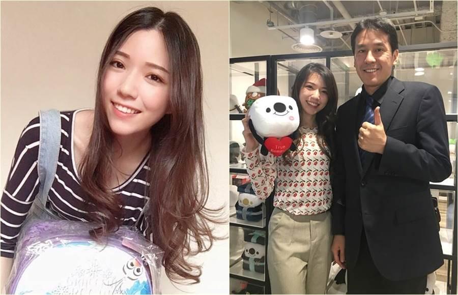 周錫瑋的正妹發言人「虎妹」同框帥大叔黃暐瀚讓他微笑了。(合成圖/17Media提供)