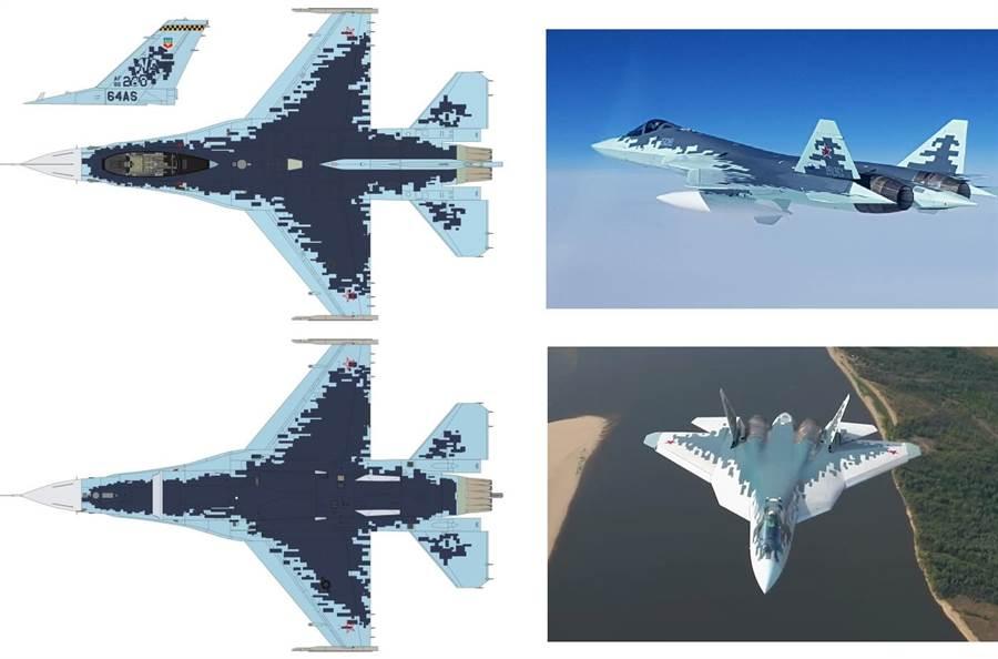 模擬俄羅斯蘇-57隱形戰機的F-16侵略者中隊塗裝與蘇-57對照圖。(圖/防務部落格)