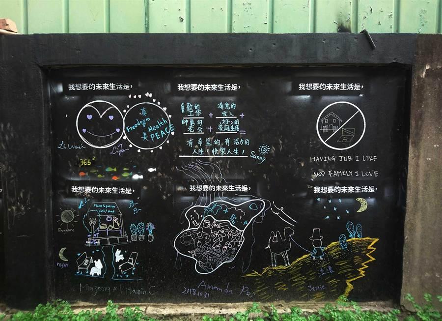 建國北路一段的塗鴉區以「我想要的未來生活是‧‧」為題,創作者表現不同的畫風與內容。(陳世宗翻攝)